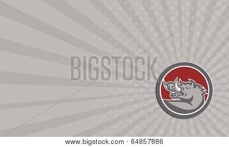 Business Card Razorback Head Looking Up Circle