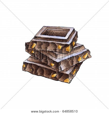 Chocolate Pieces In The Stack