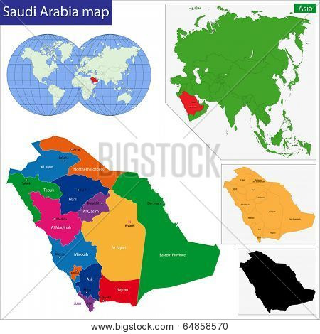 Map of the Kingdom of Saudi Arabia drawn with high detail and accuracy