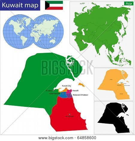 Map of administrative divisions of Kuwait