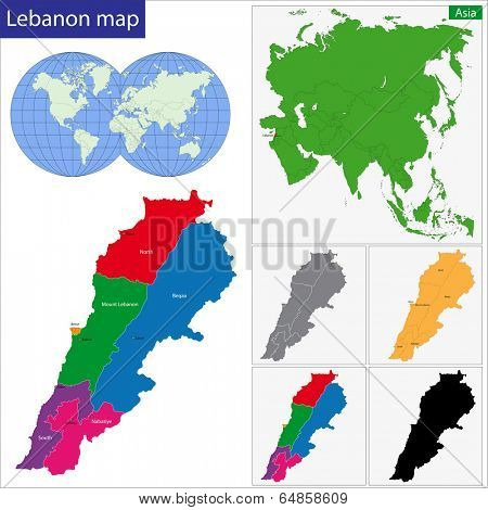 Lebanon map designed in illustration with regions colored in bright colors