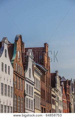 Old Gables In The Historic Center Of Lubeck