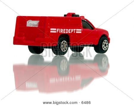 Little Toy Fire Truck Back View