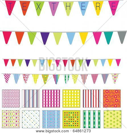 patterns and banners in a retro cute style, spots, stripes and flowers motifs