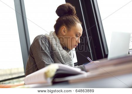 Woman Taking Notes For Her Study