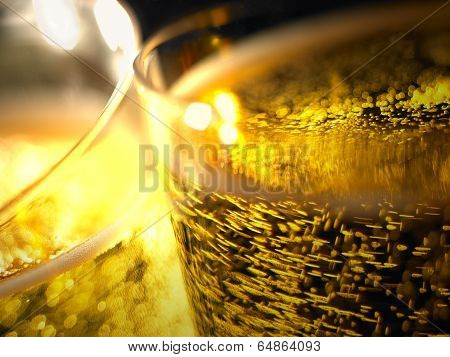 Champagne Bubbles Detail In A Glasses