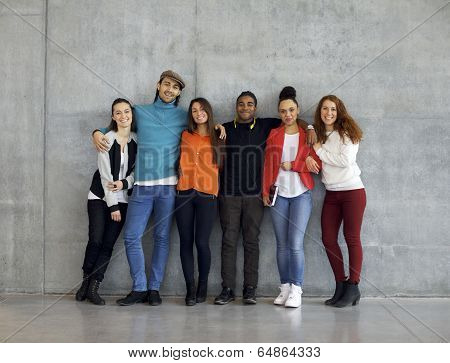 Multiethnic Group Of Happy Young University Students On Campus