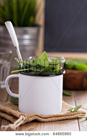 Green spinach leaves in a mug