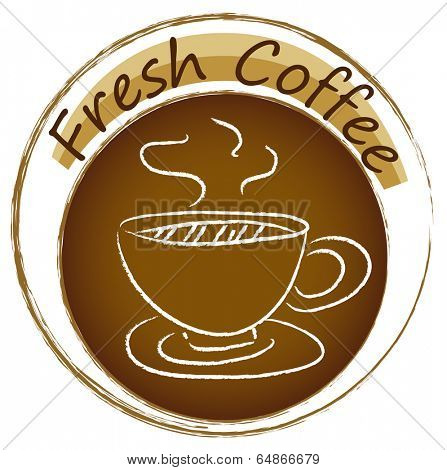 Illustration of a fresh coffee label on a white background