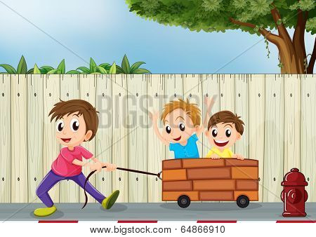 Illustration of the three boys playing near the wooden wall