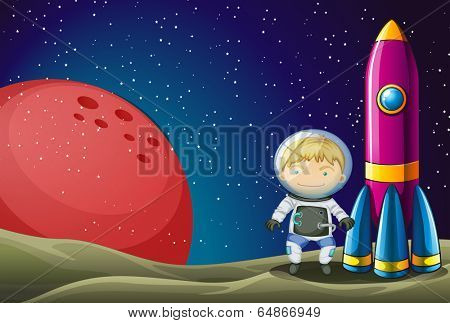 Illustration of an explorer beside the rocket in the outerspace