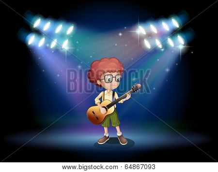 Illustration of a talented teenager in the middle of the stage with a guitar