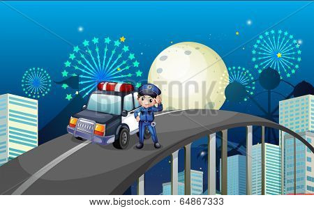 Illustration of a policeman and his patrol car in the middle of the road