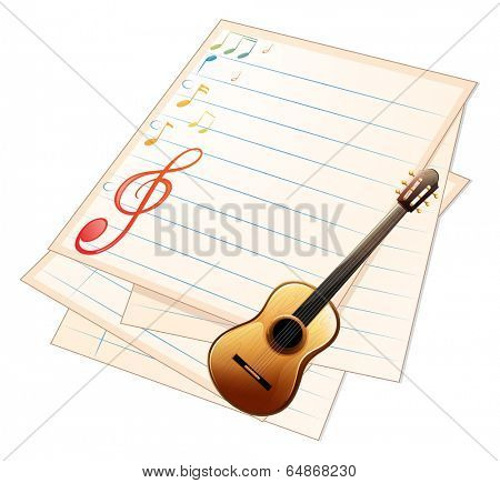 Illustration of an empty music paper with a guitar on a white background
