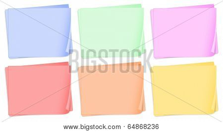 Illustration of the empty colored papers on a white background