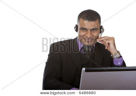 Young handsome Call Center Operator With Headset Express Happiness