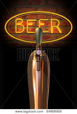 Beer Tap Single With Neon Sign