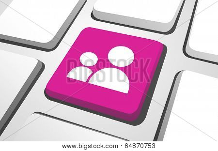Close-up of pink parental guidance computer icon on a keyboard button.