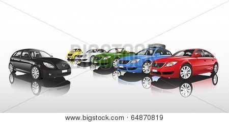 Studio shot vector of group of multi-colored cars in a row.