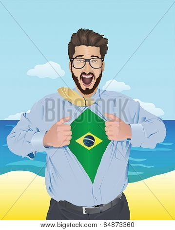 Businessman opening shirt to reveal brazilian flag