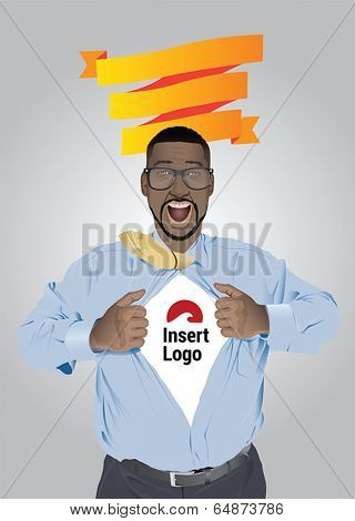 Businessman pulling open shirt to reveal logo vector with orange banner