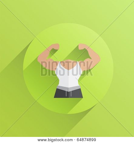 Digitally generated body with flexing biceps on green background