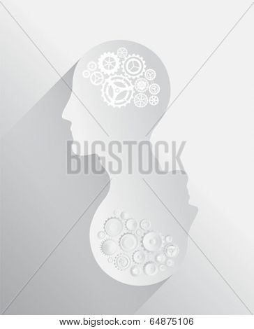 Heads with cogs and wheels for brains in grey and white