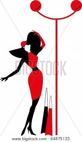 Graphic vintage women silhouettes