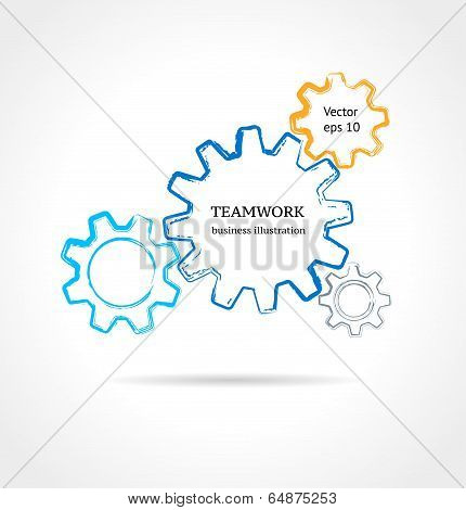 Color Cogs/gears On Light Background. Teamwork Business Concept.