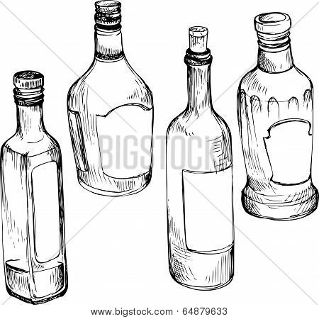 set of hand drawn glass bottles