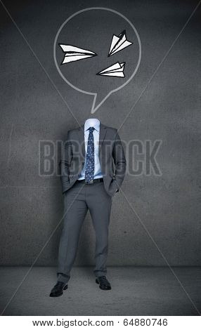 Composite image of headless businessman with paper airplanes in speech bubble in grey room