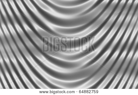 Silvery Shiny Silk Curtain Close Up