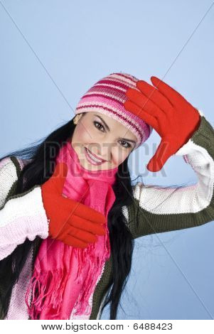 Happy Young Winter Woman