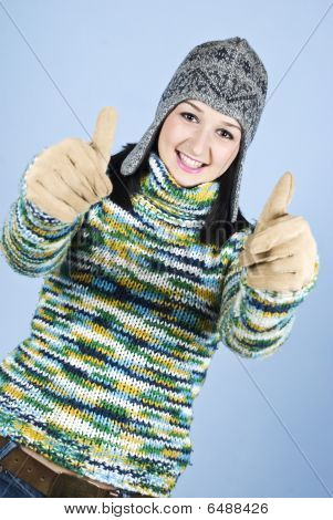Successful Girl In Wool Sweater Give Thumbs