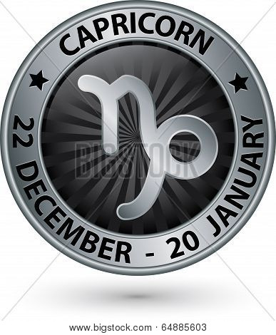 Capricorn Zodiac Silver Sign, Virgo Symbol Vector Illustration