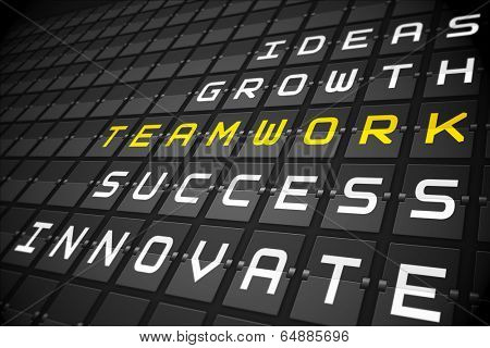 Teamwork buzzwords on digitally generated black mechanical board