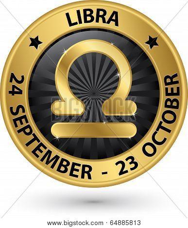 Libra Zodiac Gold Sign, Virgo Symbol Vector Illustration