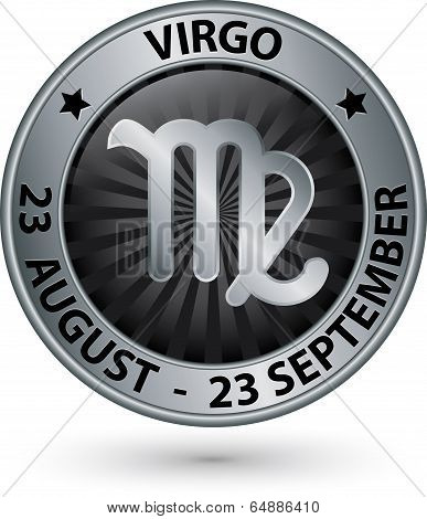 Virgo Zodiac Silver Sign, Virgo Symbol Vector Illustration
