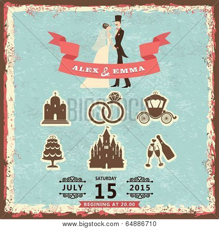 Vintage Invitation With Groom, Bride And Wedding Items