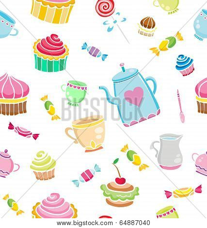 Tea Time Seamless Pattern For Design. Sweet Life. Vector Illustration.