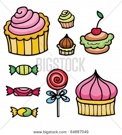 Set Of Various Sweets Elements Including Caramel, Lollipops And Cupcakes