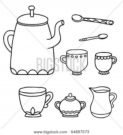 Set Of Isolated Line Drawing Tea Time Supplies