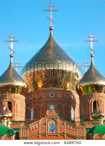 Shining golden onion domes of St. Vladimir Cathedral