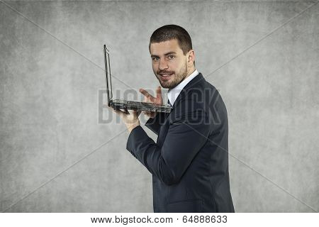 Smiling Businessman Checks The Mail