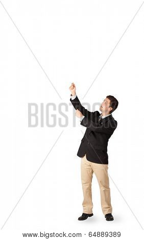 Handsome young man gesturing with copy space