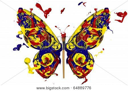 Blue Yellow Red Painted Butterfly