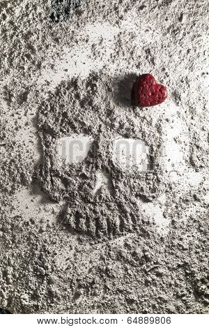 Death Skull With Red Love Heart Made Of Ash