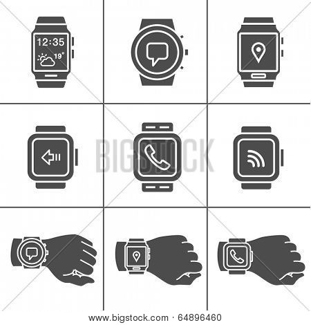 Smart watch icons. Vector illustration. Simplus series