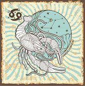 Постер, плакат: Cancer Zodiac Sign vintage Horoscope Card