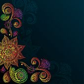 picture of indigo  - Indigo Vintage background with Mandala Indian Ornament - JPG